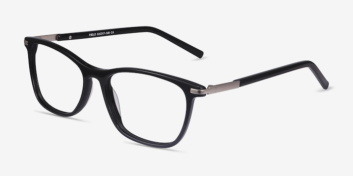 Field Black Metal Eyeglass Frames from EyeBuyDirect, Angle View