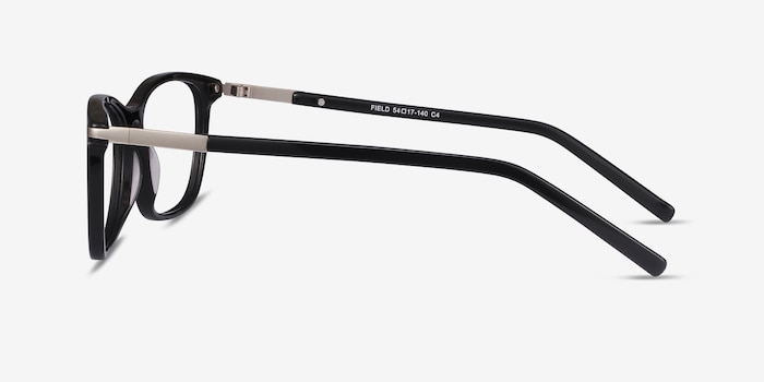 Field Black Acetate-metal Eyeglass Frames from EyeBuyDirect, Side View