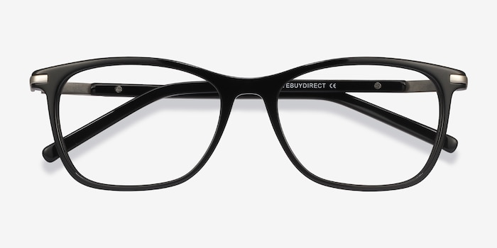 Field Black Acetate-metal Eyeglass Frames from EyeBuyDirect, Closed View