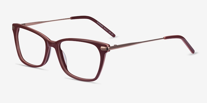 Forward Burgundy Metal Eyeglass Frames from EyeBuyDirect, Angle View