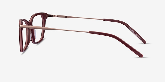 Forward Burgundy Metal Eyeglass Frames from EyeBuyDirect, Side View