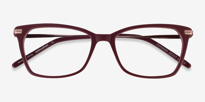 Forward Burgundy Metal Eyeglass Frames from EyeBuyDirect, Closed View