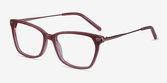 Forward Pink Metal Eyeglass Frames from EyeBuyDirect, Angle View