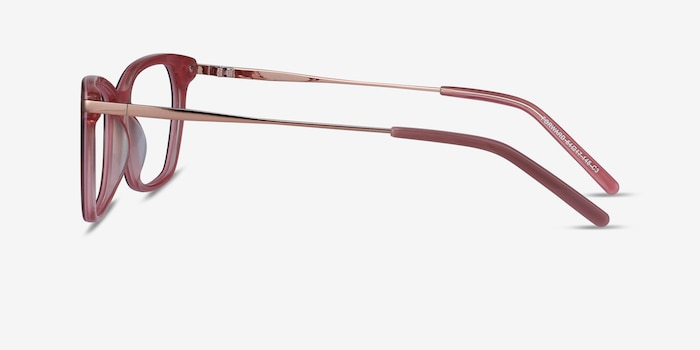 Forward Pink Metal Eyeglass Frames from EyeBuyDirect, Side View