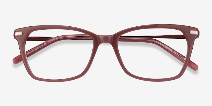 Forward Pink Metal Eyeglass Frames from EyeBuyDirect, Closed View