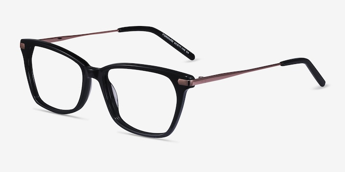 Forward Black Acetate Eyeglass Frames from EyeBuyDirect, Angle View