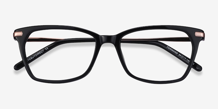 Forward Black Acetate Eyeglass Frames from EyeBuyDirect, Closed View