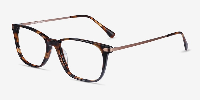 Plaza Tortoise Acetate-metal Eyeglass Frames from EyeBuyDirect, Angle View
