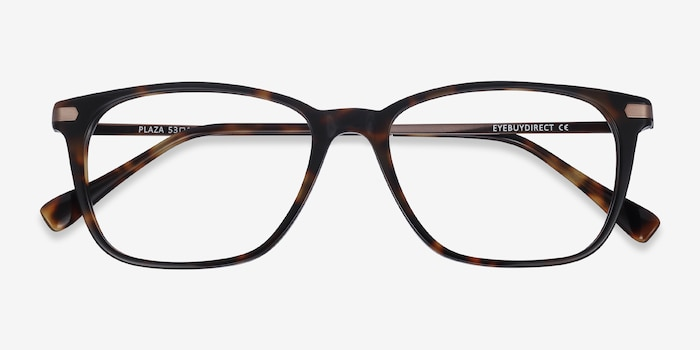 Plaza Tortoise Acetate Eyeglass Frames from EyeBuyDirect, Closed View