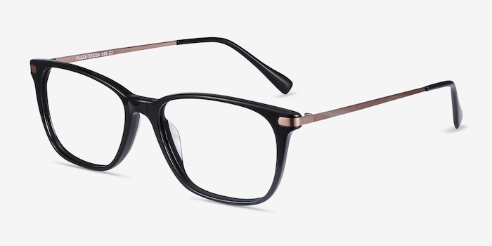 Plaza Black Acetate Eyeglass Frames from EyeBuyDirect, Angle View