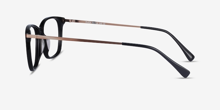 Plaza Black Acetate Eyeglass Frames from EyeBuyDirect, Side View
