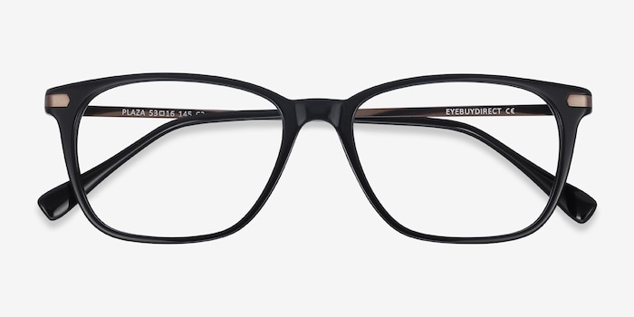 Plaza Black Acetate Eyeglass Frames from EyeBuyDirect, Closed View