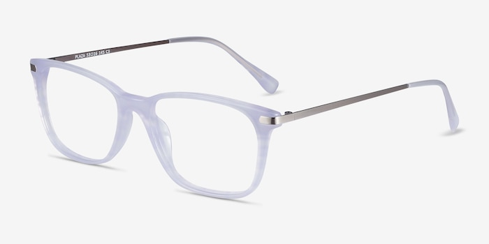 Plaza Purple Striped Acetate Eyeglass Frames from EyeBuyDirect, Angle View