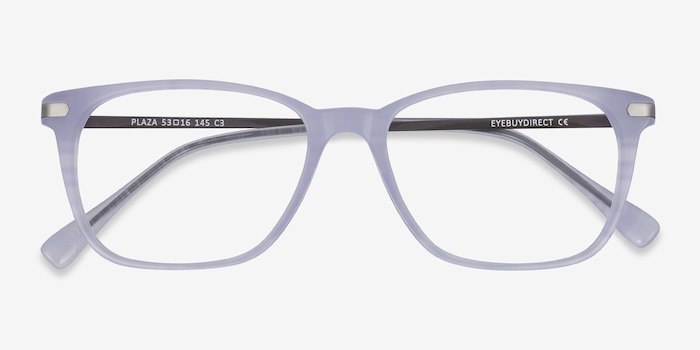 Plaza Purple Striped Metal Eyeglass Frames from EyeBuyDirect, Closed View