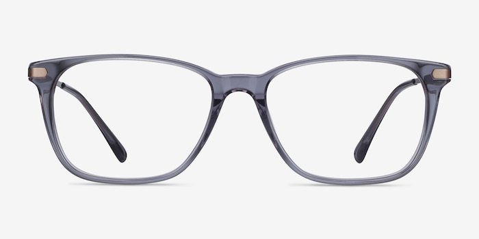 Plaza Gray Metal Eyeglass Frames from EyeBuyDirect, Front View