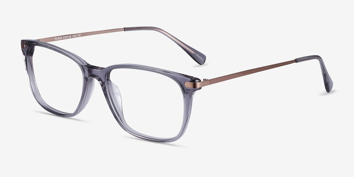 Plaza Gray Metal Eyeglass Frames from EyeBuyDirect, Angle View