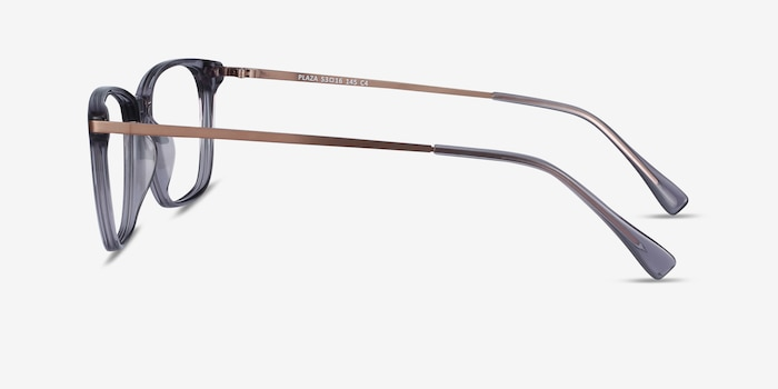 Plaza Gray Acetate-metal Eyeglass Frames from EyeBuyDirect, Side View