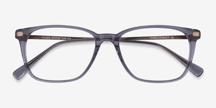 Plaza Gray Acetate Eyeglass Frames from EyeBuyDirect, Closed View