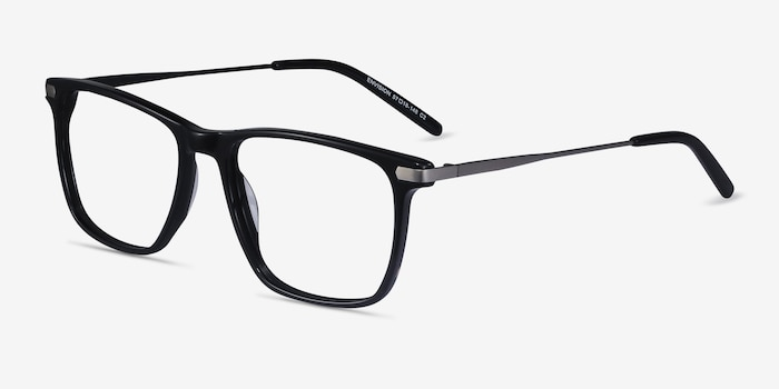 Envision Black Acetate Eyeglass Frames from EyeBuyDirect, Angle View
