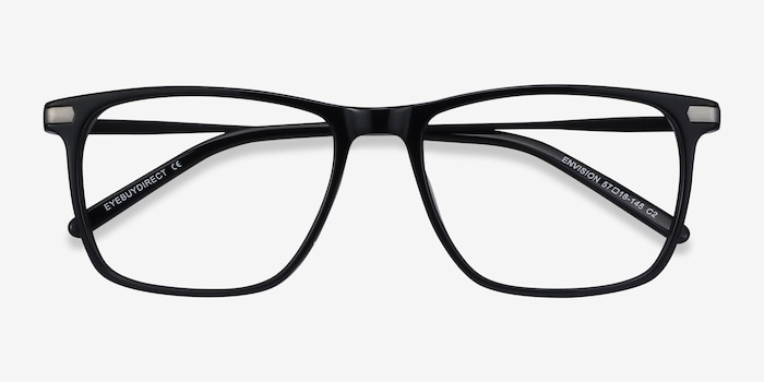 Envision Black Acetate Eyeglass Frames from EyeBuyDirect, Closed View