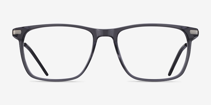 Envision Gray Metal Eyeglass Frames from EyeBuyDirect, Front View