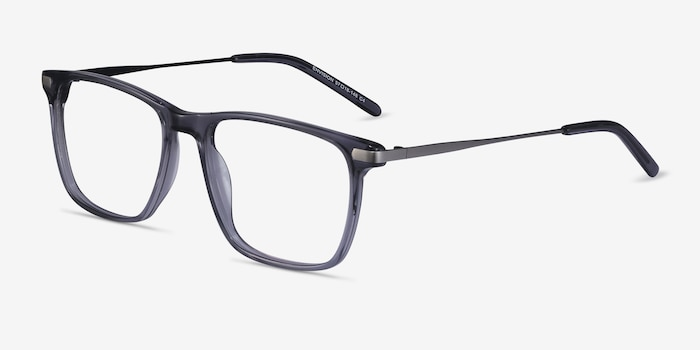 Envision Gray Metal Eyeglass Frames from EyeBuyDirect, Angle View
