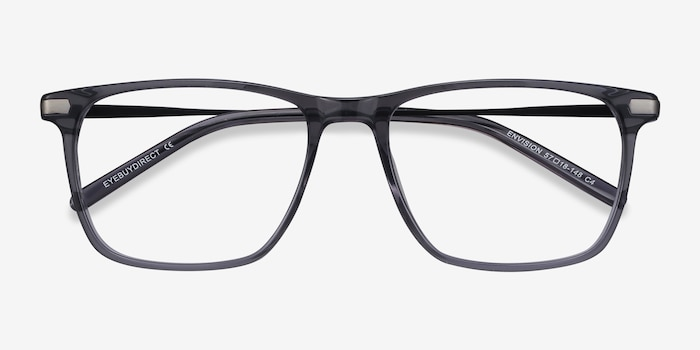 Envision Gray Metal Eyeglass Frames from EyeBuyDirect, Closed View