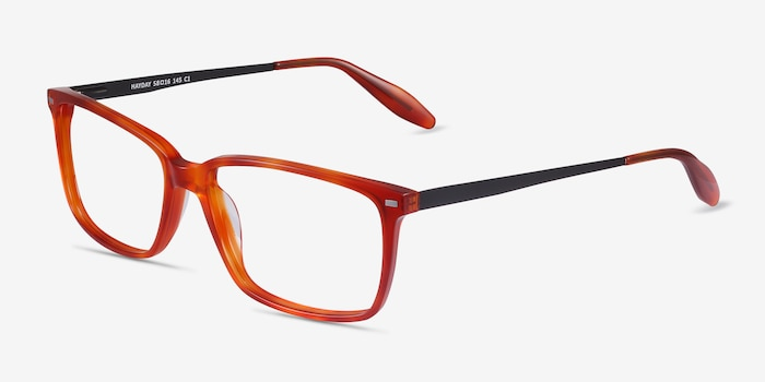 Hayday Blood Orange Metal Eyeglass Frames from EyeBuyDirect, Angle View