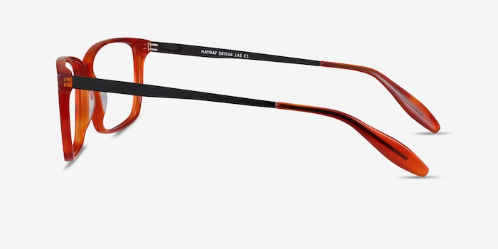 Hayday Blood Orange Acetate Eyeglass Frames from EyeBuyDirect, Side View