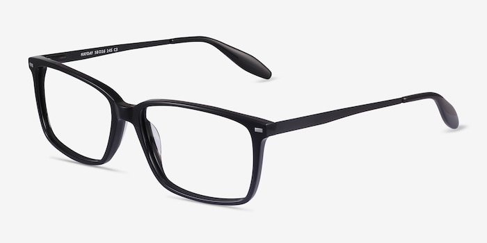 Hayday Black Metal Eyeglass Frames from EyeBuyDirect, Angle View