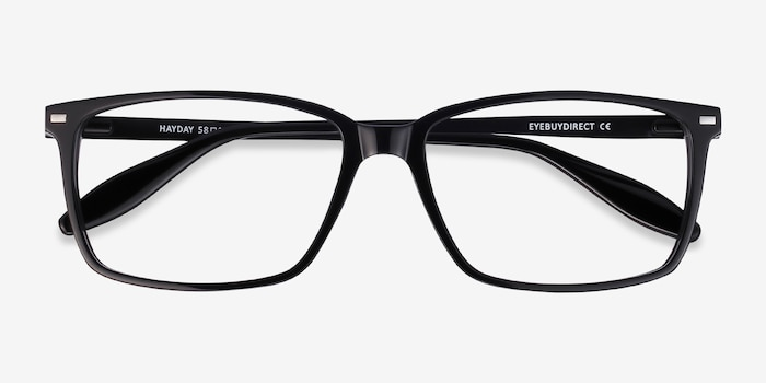 Hayday Black Metal Eyeglass Frames from EyeBuyDirect, Closed View