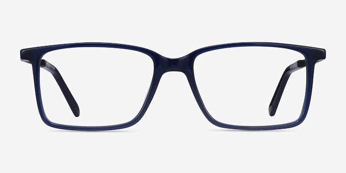 Haptic Blue Acetate Eyeglass Frames from EyeBuyDirect, Front View