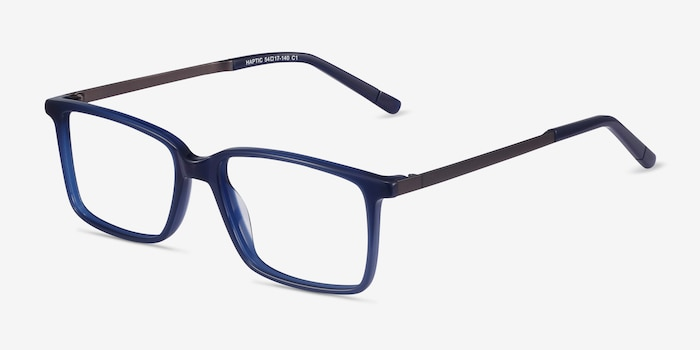 Haptic Blue Acetate Eyeglass Frames from EyeBuyDirect, Angle View