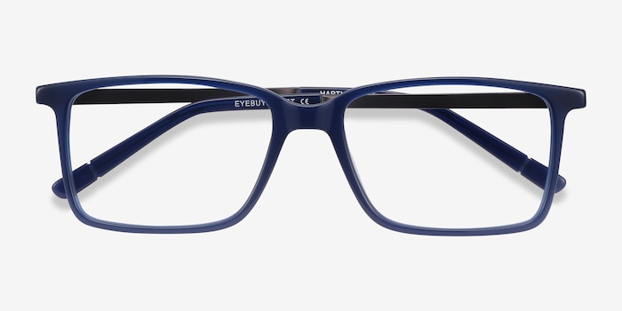 Haptic Blue Acetate Eyeglass Frames from EyeBuyDirect, Closed View