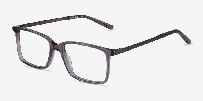 Haptic Gray Acetate Eyeglass Frames from EyeBuyDirect, Angle View