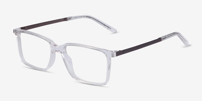 Haptic Clear Metal Eyeglass Frames from EyeBuyDirect, Angle View
