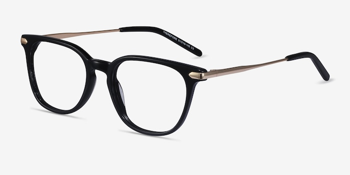 Therefore Black Acetate-metal Eyeglass Frames from EyeBuyDirect, Angle View