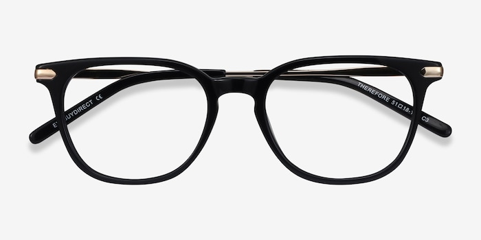 Therefore Black Acetate-metal Eyeglass Frames from EyeBuyDirect, Closed View