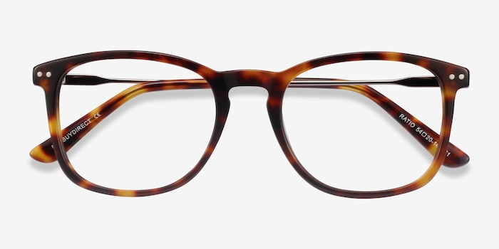 Ratio Tortoise Metal Eyeglass Frames from EyeBuyDirect, Closed View