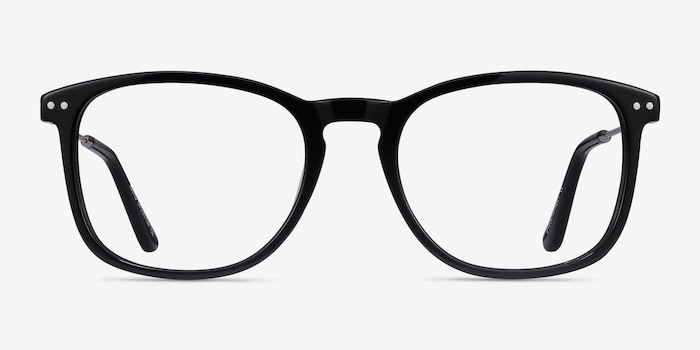 Ratio Black Acetate-metal Eyeglass Frames from EyeBuyDirect, Front View