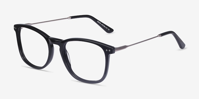 Ratio Black Acetate-metal Eyeglass Frames from EyeBuyDirect, Angle View