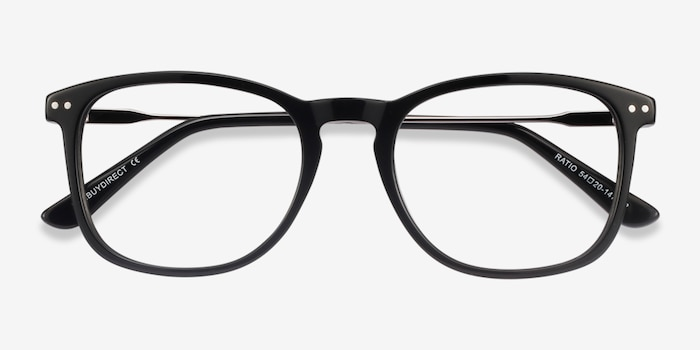 Ratio Black Acetate-metal Eyeglass Frames from EyeBuyDirect, Closed View
