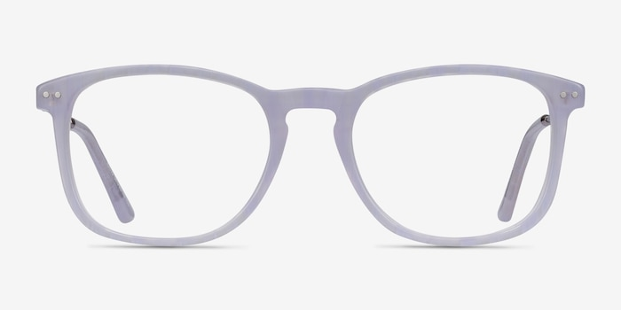 Ratio Purple Striped Metal Eyeglass Frames from EyeBuyDirect, Front View