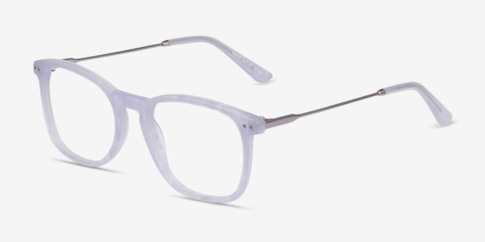 Ratio Purple Striped Metal Eyeglass Frames from EyeBuyDirect, Angle View
