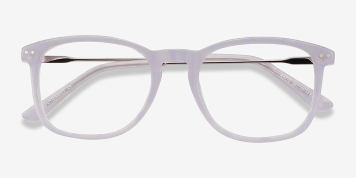 Ratio Purple Striped Metal Eyeglass Frames from EyeBuyDirect, Closed View