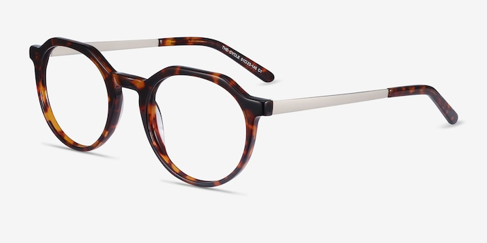 The Cycle Dark Tortoise Metal Eyeglass Frames from EyeBuyDirect, Angle View