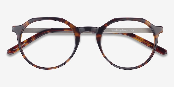 The Cycle Dark Tortoise Metal Eyeglass Frames from EyeBuyDirect, Closed View