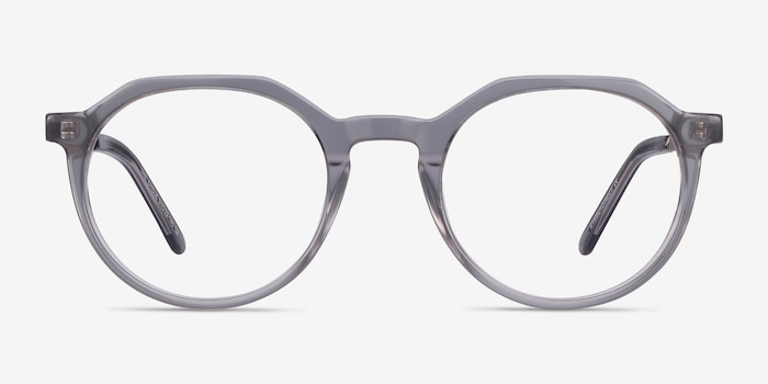 The Cycle Gray Metal Eyeglass Frames from EyeBuyDirect, Front View