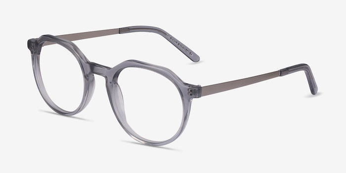 The Cycle Gray Metal Eyeglass Frames from EyeBuyDirect, Angle View