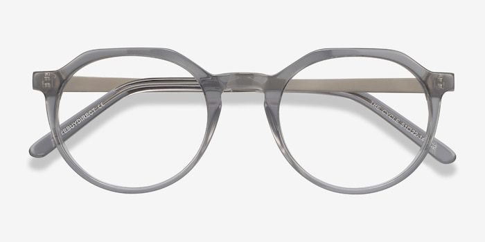 The Cycle Gray Metal Eyeglass Frames from EyeBuyDirect, Closed View